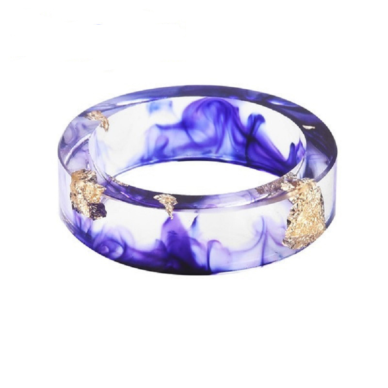 Hot Sale Dried Flower Resin Ring Fashion Women Handmade Transparent Epoxy Ring Finger Ring Jewelry
