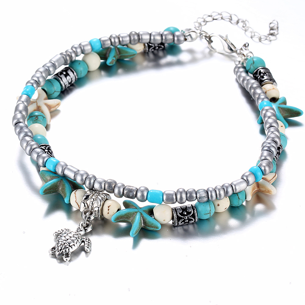 LE SKY Bohemian Crystal Stone Anklets Double Beach Foot Chain Conch Starfish Alloy Turtle Pendant Leg Bracelet Women Jewelry