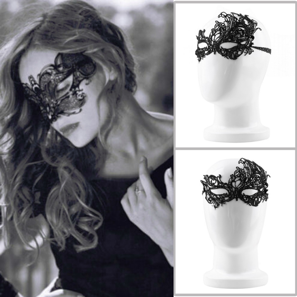 New Wholesale Women Black halloween masquerade Sexy Lady Lace Mask Cutout Eye Mask for Health Care