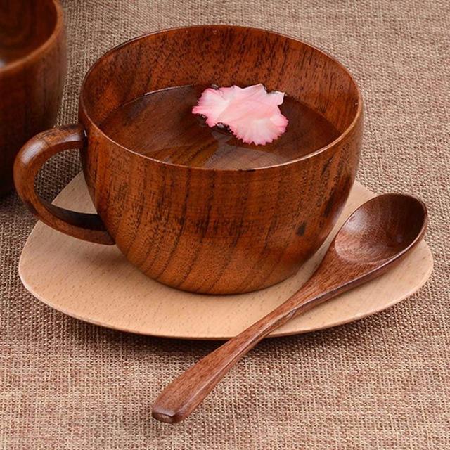 260ml / 8.8 oz Natural Jujube Bar Wooden Cups Mugs With Handgrip Coffee Tea Milk Travel Wine Beer Mugs For Home Bar