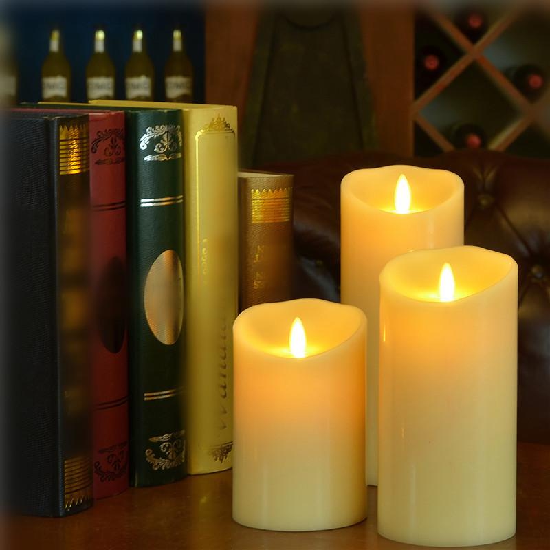 3pcs/set Luminara Ivory LED Candles Flameless Real Wax Moving Wick Battery operated LED Candle Lamp for Wedding Christmas Decor