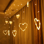 Crystal heart-shaped LED curtain decoration curtain light string 8 party wedding and garden wall decoration