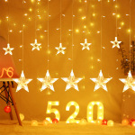 Star Curtain Light Pentagram LED String Wedding Interior Decoration Lights Xmas New Year Party Light Chains Fairy Garland