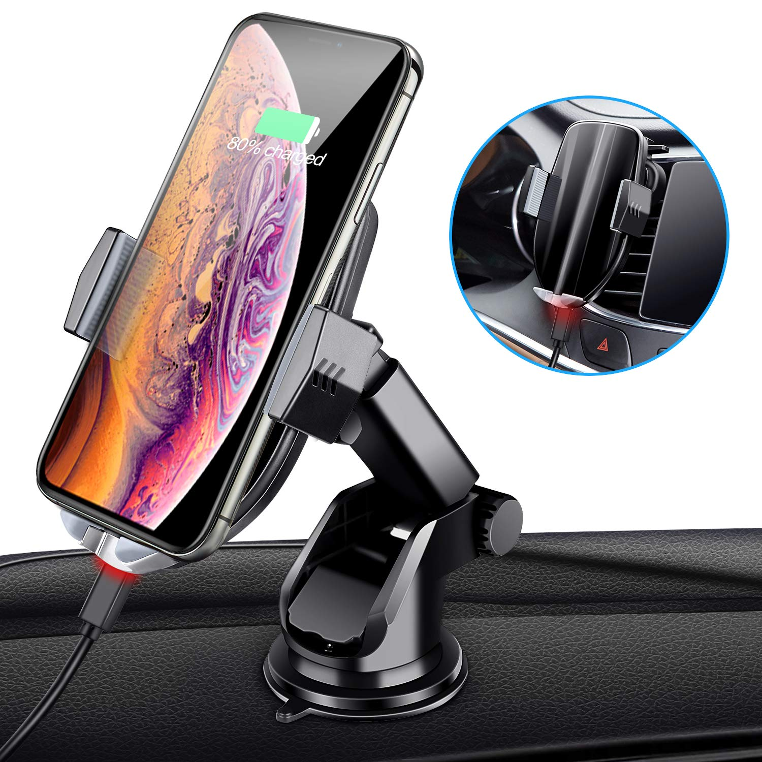 Wireless Car Charger Mount,  Automatic Sensing Clamping Car Mount Holder, 7.5w/10w Qi Fast Charging Car Phone Holder Compatible with iPhone Xs/Xs Max/XR/X/ 8/8 Plus, Samsung Galaxy S10 /S10+/S9