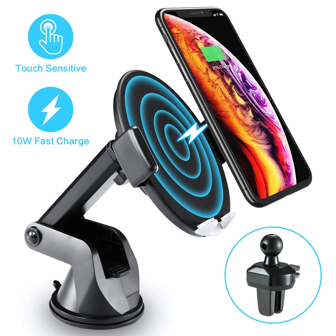 Wireless Car Charger with Touch Sensitive Clamp  10W Fast Wireless Car Charger Mount Phone Holder Qi Wireless Car Charger Compatible for iPhone Xs Max/XR/X/8/8+ Samsung S10/9/8 Note 9 and More