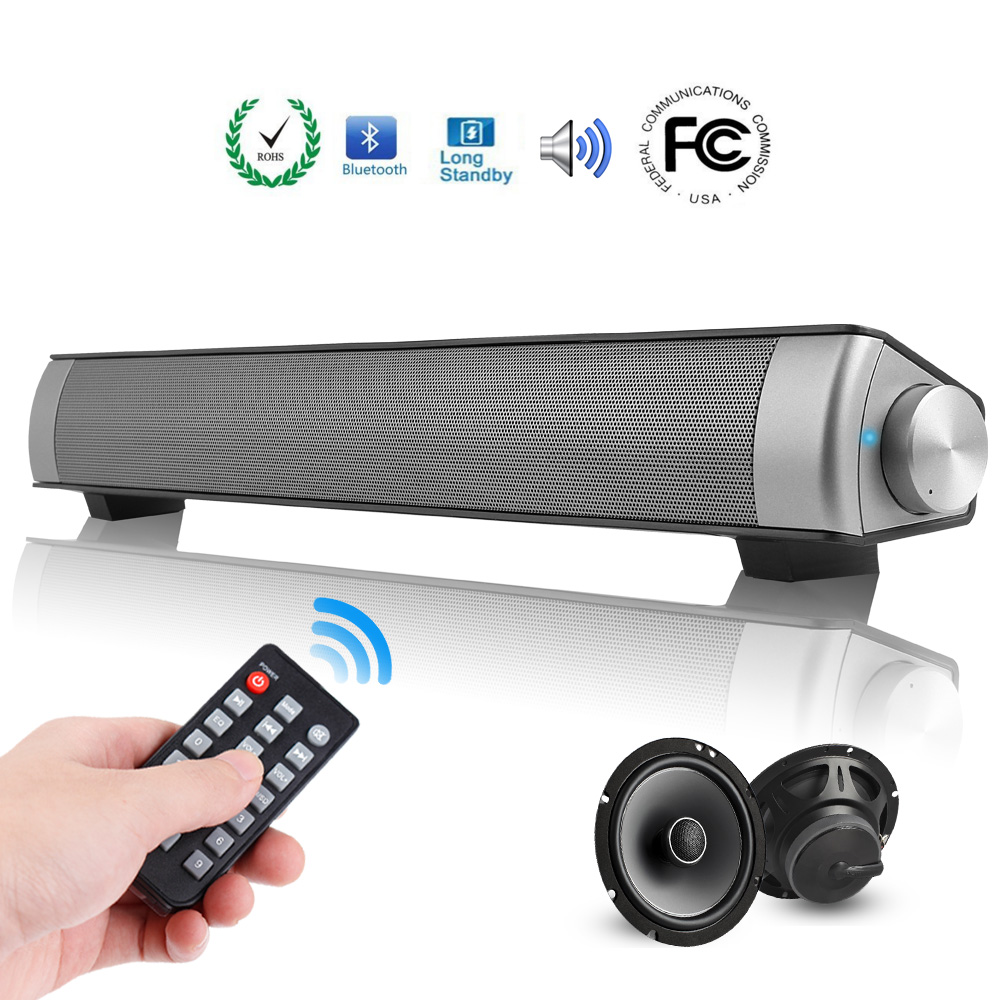 声霸蓝牙音响Sound Bar Wired & Wireless Connection 3D Surround Sound Speaker Bar Bluetooth Home Theater with Remote Control,Wireless Bluetooth Sound Speaker with Built-in 5W Subwoofers and Batteries