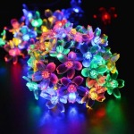 Solar Strings Lights 7M 50 LED Peach Blossom Fairy Garden Lights for Outdoor Home Lawn Wedding Patio Party Holiday Decoration