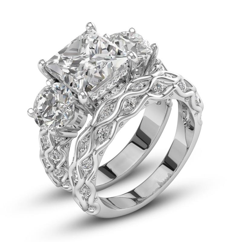 欧美爆款女士戒指花纹锆石铜镀银情侣组合套戒