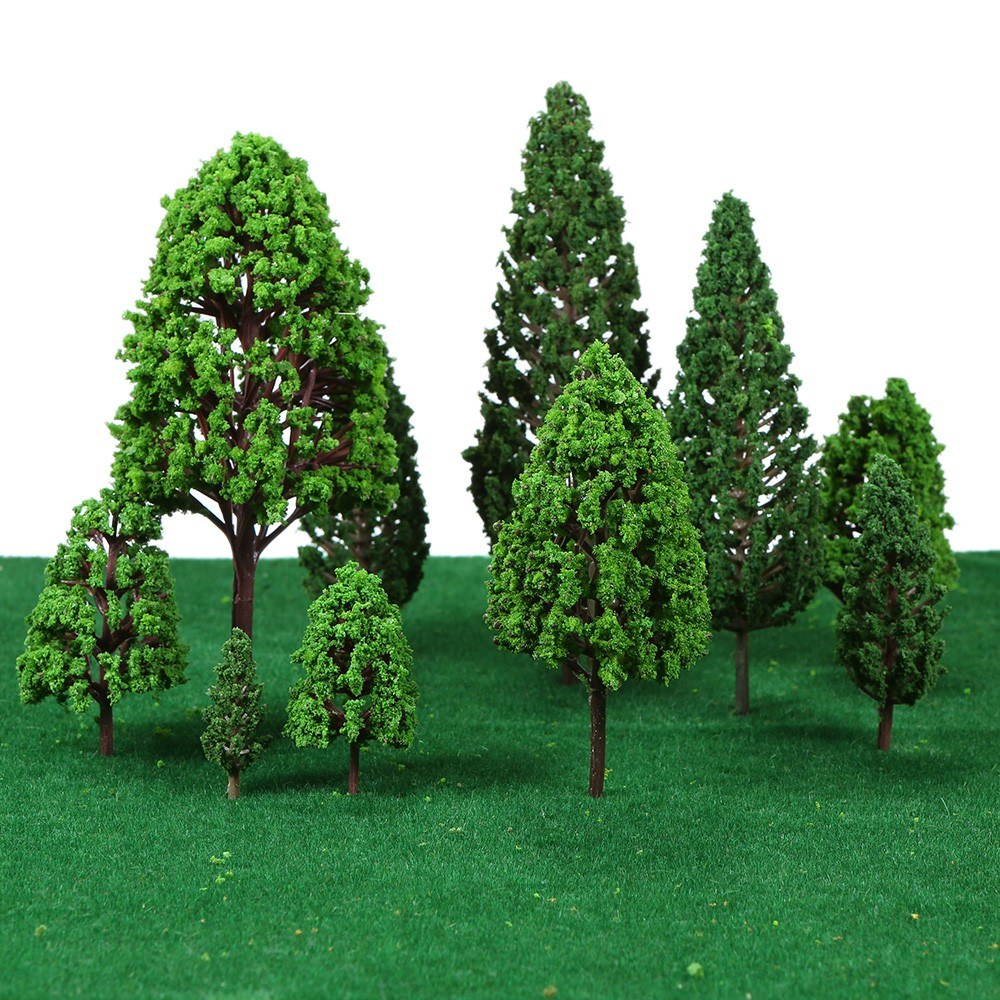22pcs Mini Architectural Plastic Green Trees Scale Models Garden Decoration Tree Toys Train Railways Landscape Scenery Layout