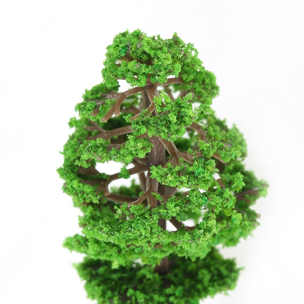 60pcs Mini Plastic Green Trees Scale Architectural Models Train Railways Landscape Scenery Layout Garden Decoration Tree Toys