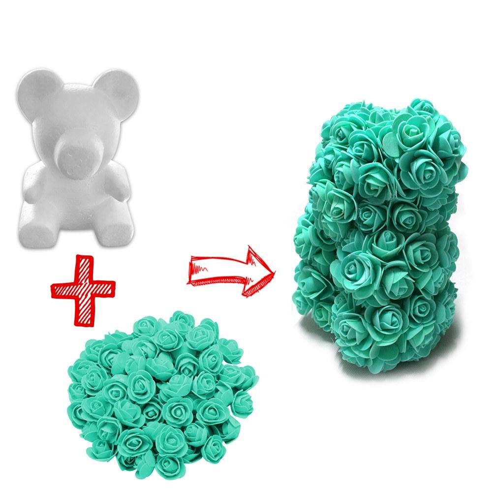 Foam Bear DIY Rose Bear Teddy Bear Artificial Forever Rose with Glue Tool Flower for Valentine Anniversary Decoration
