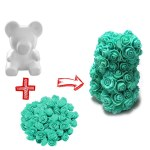 Foam Bear DIY Rose Bear Teddy Bear Artificial Forever Rose with Glue Tool Flower for Valentine Anniversary Decoration
