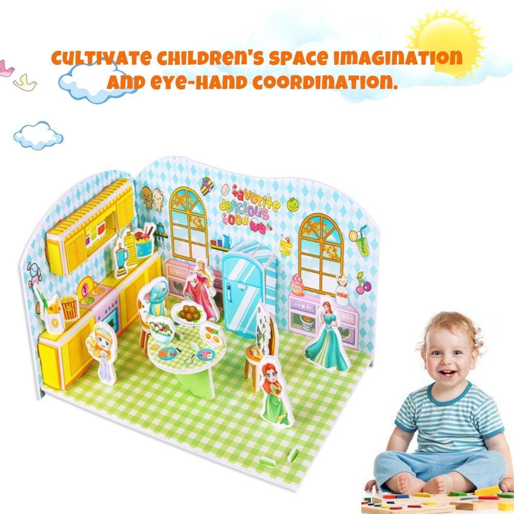 3 Dimensional Cartoon Paper Construction Stereoscopic Mosaic Building Modeling DIY Kit Gift for Kids-Delicacy Kitchen