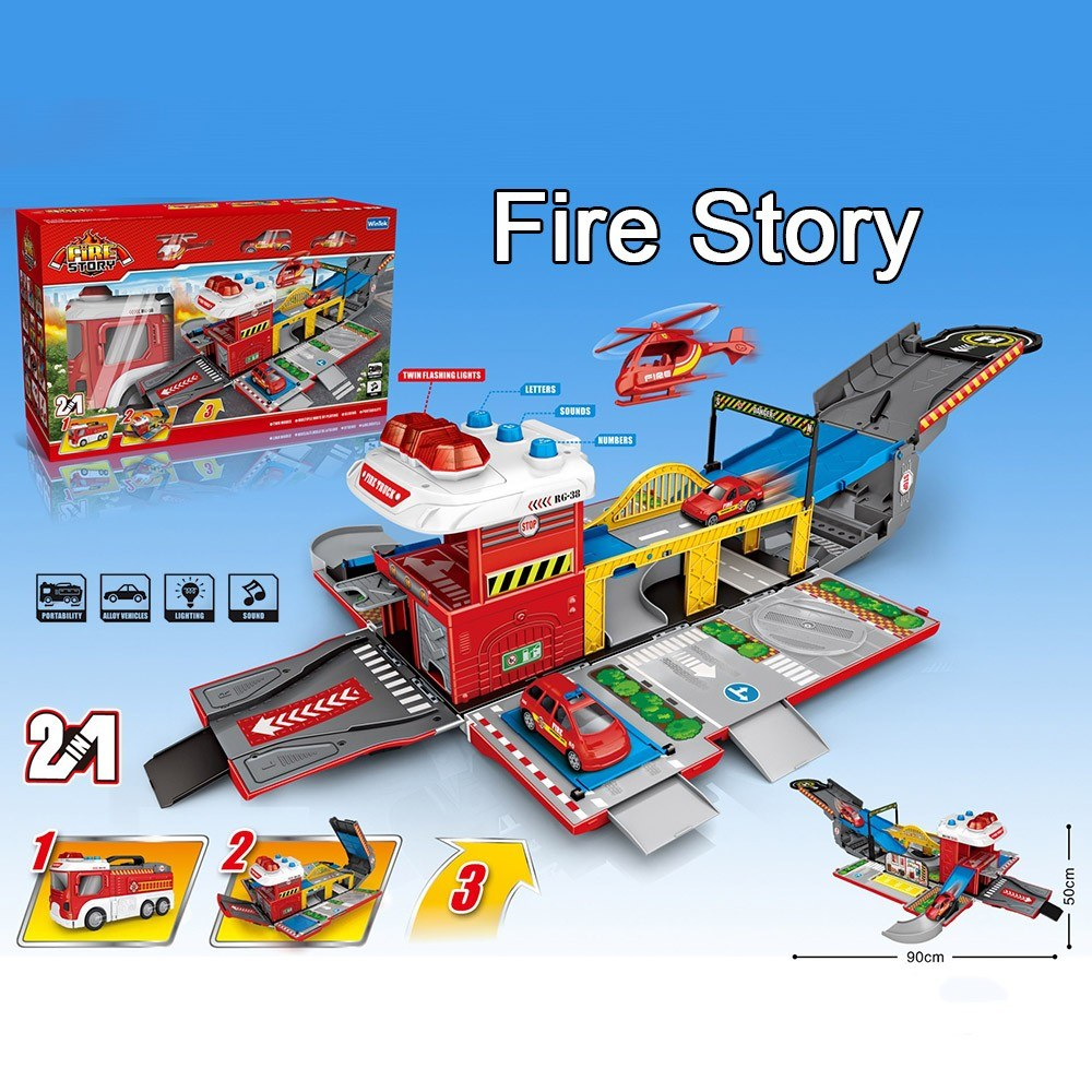 Assembling Fire Truck Multi-functional DIY Building Car Vehicle City Track Sets with Light and Sound for Kids