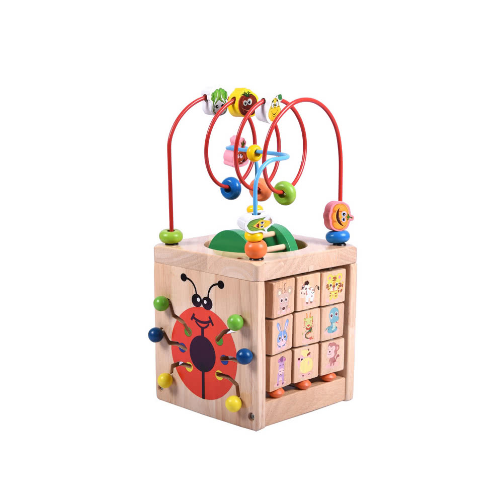 6 in 1 Wooden Bead Maze Activity Cube Multipurpose Activity Center Box Educational Skill Improvement Wood Toys for Kids