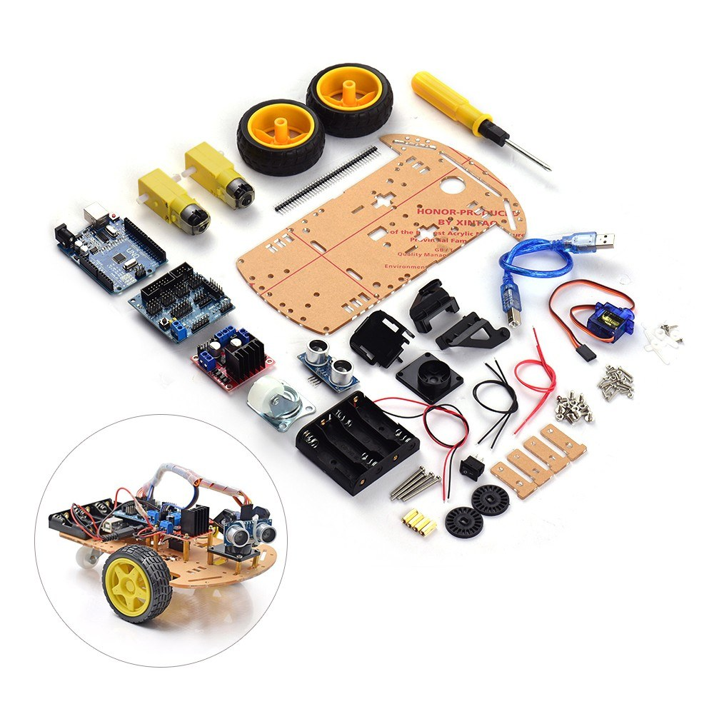 Smart Robot Car Assembly Kit Two Wheels Intelligent Obstacle Avoidance Tracking Wireless BT Remote Control Small Car Chassis DIY Kit Set