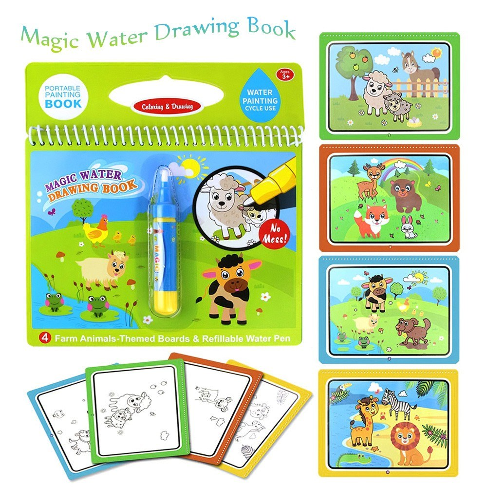 Magic Water Drawing Book Coloring Water Painting Doodle Book for Kids Children Birthday Gift