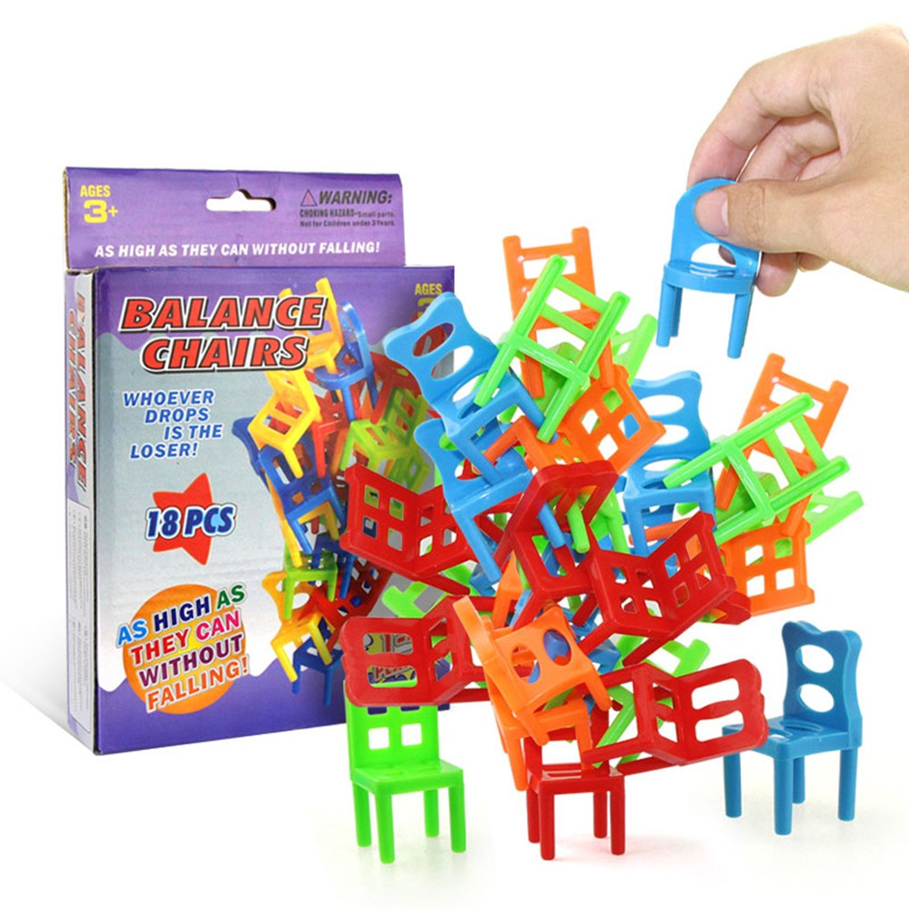 18Pcs Balancing Chairs Set Assorted Stacking Chairs Game Kids' Party Favor Stacking Toys
