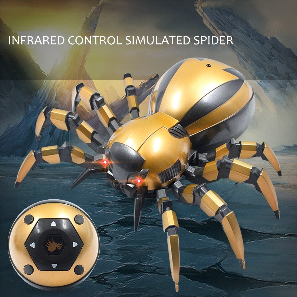 Infrared Remote Control Mechanical Spider with LED light Sound Gift Toy for Kids