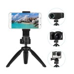 Folding Mini Tripod Stand Phone Camera Portable Tabletop Holder with 360 Degrees Rotatable Ball Head Cellphone Clip Compatible for iPhone Android Smartphone DSLR Camera Sports Camera Webcam Projector