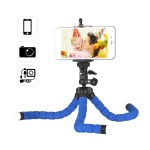 Flexible Sponge Octopus Tripod Stand Holder with Smartphone Clip 1/4 Inch Screw 360 Degree Rotation for iPhone Huawei Samsung GoPro Camera Video Camera