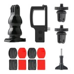 Action Camera Helmet Mount Buckle Plate + Mini Bracket + Adapter & Long Screw + Camera Holder Kit