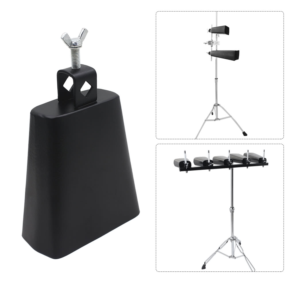 8 Inch Iron Cow-bell Percussion Instrument with Clapper for Drum Set Kit Accessory