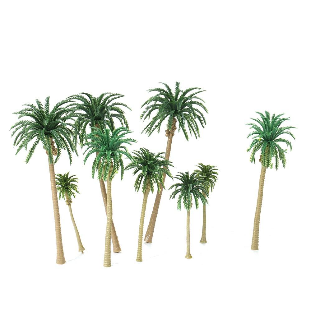 15pcs Miniature Scenery Layout Model Plastic Tree Palm Trees Train Coconut Rainforest Home Garden Decoration
