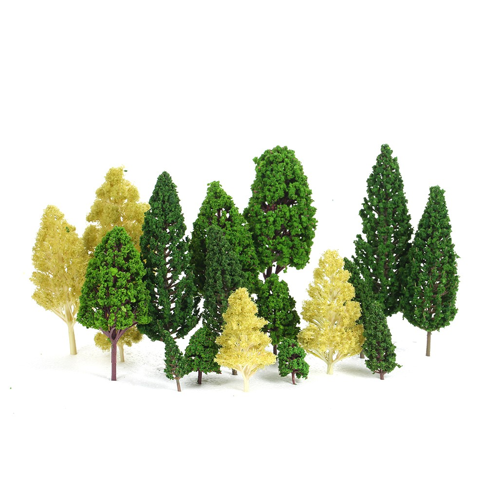Pack of 27pcs Model Trees Scenery Layout Train Railway Diorama Landscape 3-16cm 3 Types