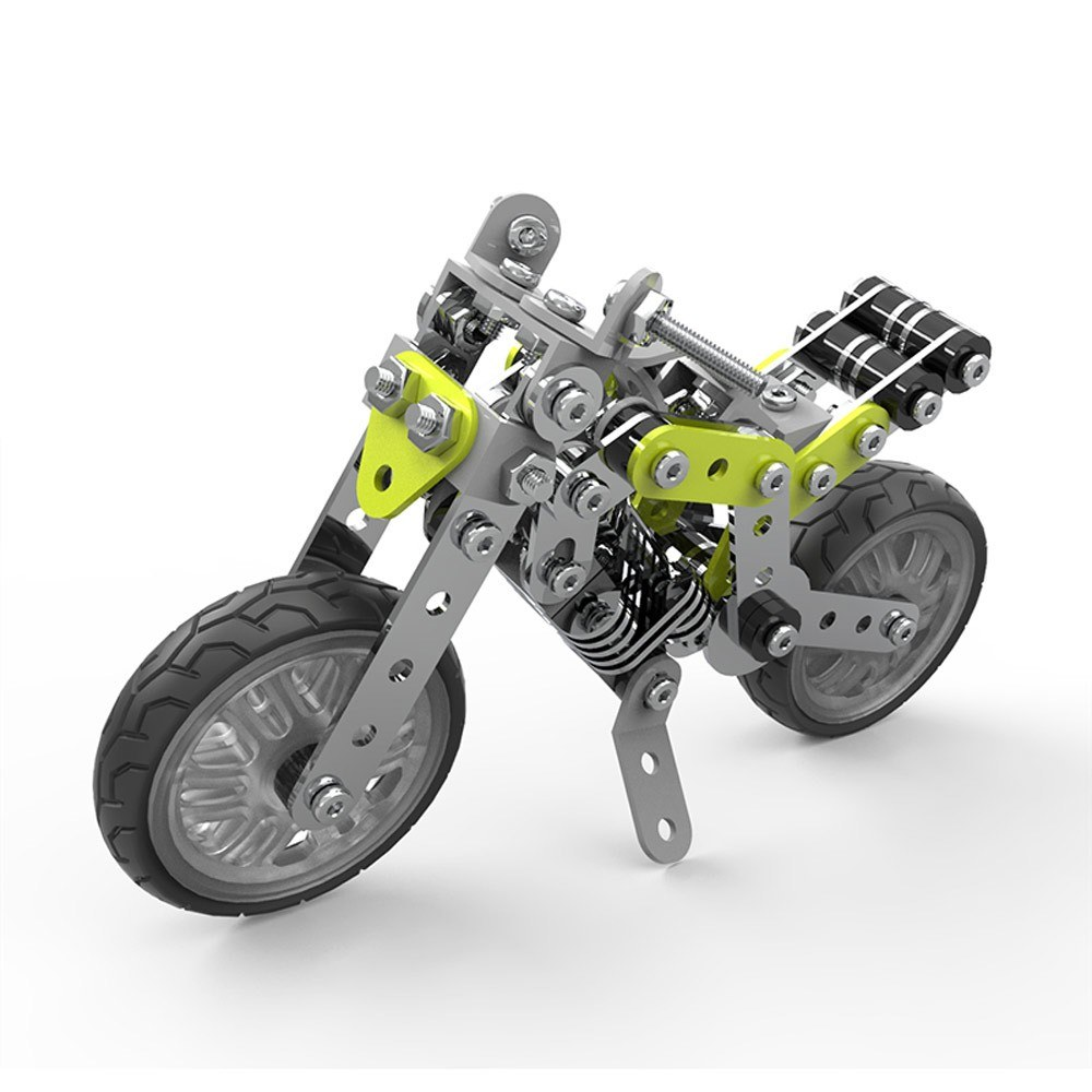 188Pcs Street Motorbike Intelligent Construction Set 3D Stainless Steel Model Kit DIY Gift Model Building Educational Toys
