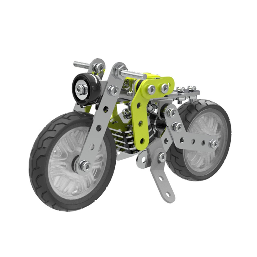 120Pcs Retro Motorbike Intelligent Construction Set 3D Stainless Steel Model Kit DIY Gift Model Building Educational Toys