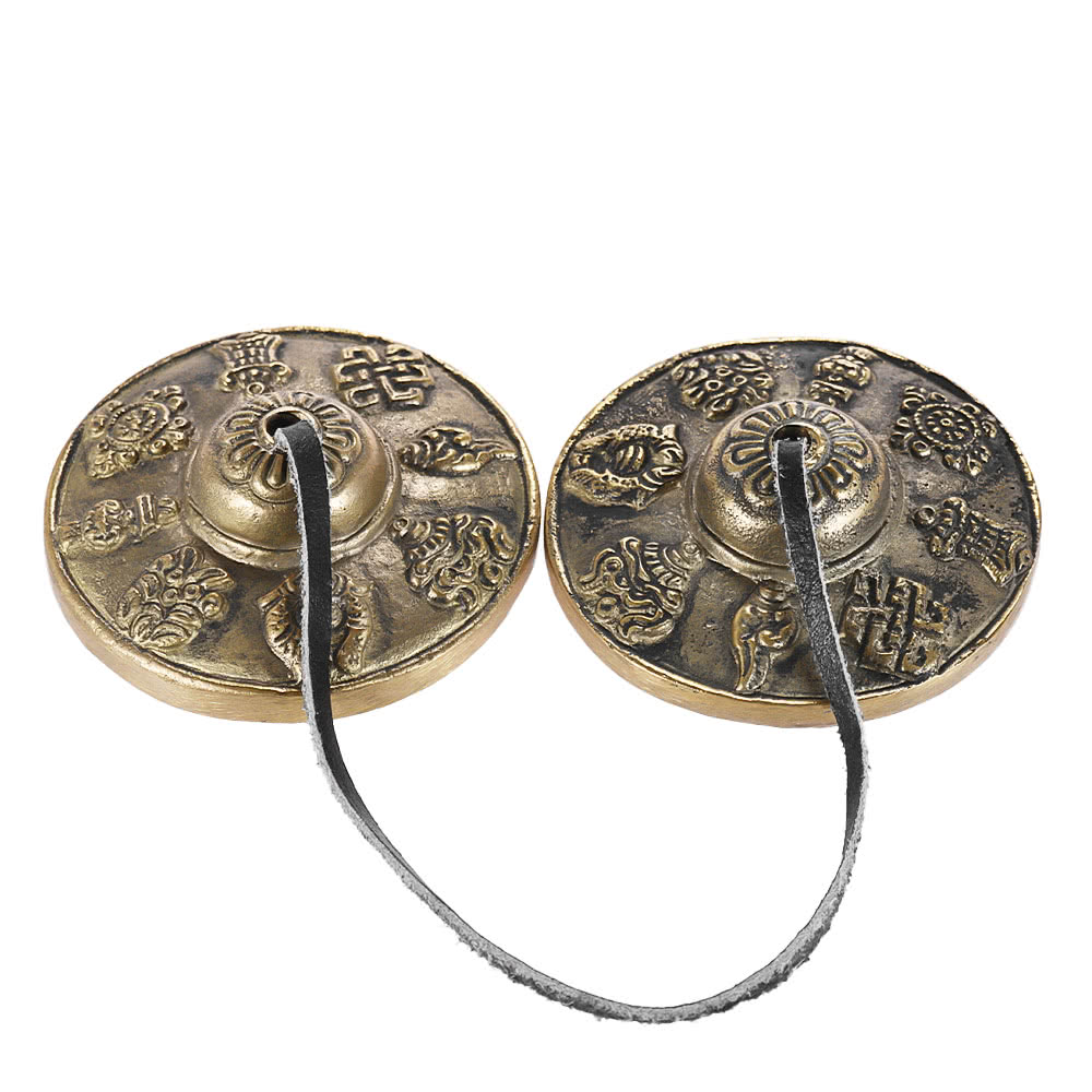 2.6in/6.5cm Handcrafted Tibetan Meditation Tingsha Cymbal Bell with Buddhist The Eight Auspicious Symbols