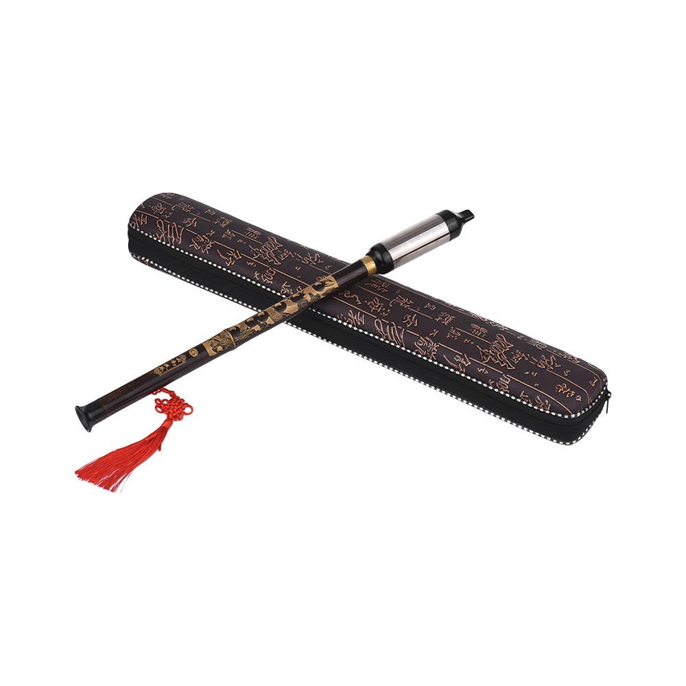 Chinese Traditional Musical Instrument Vertical Blown Bawu Black Bamboo Chinese Free Reed Flute Key of G