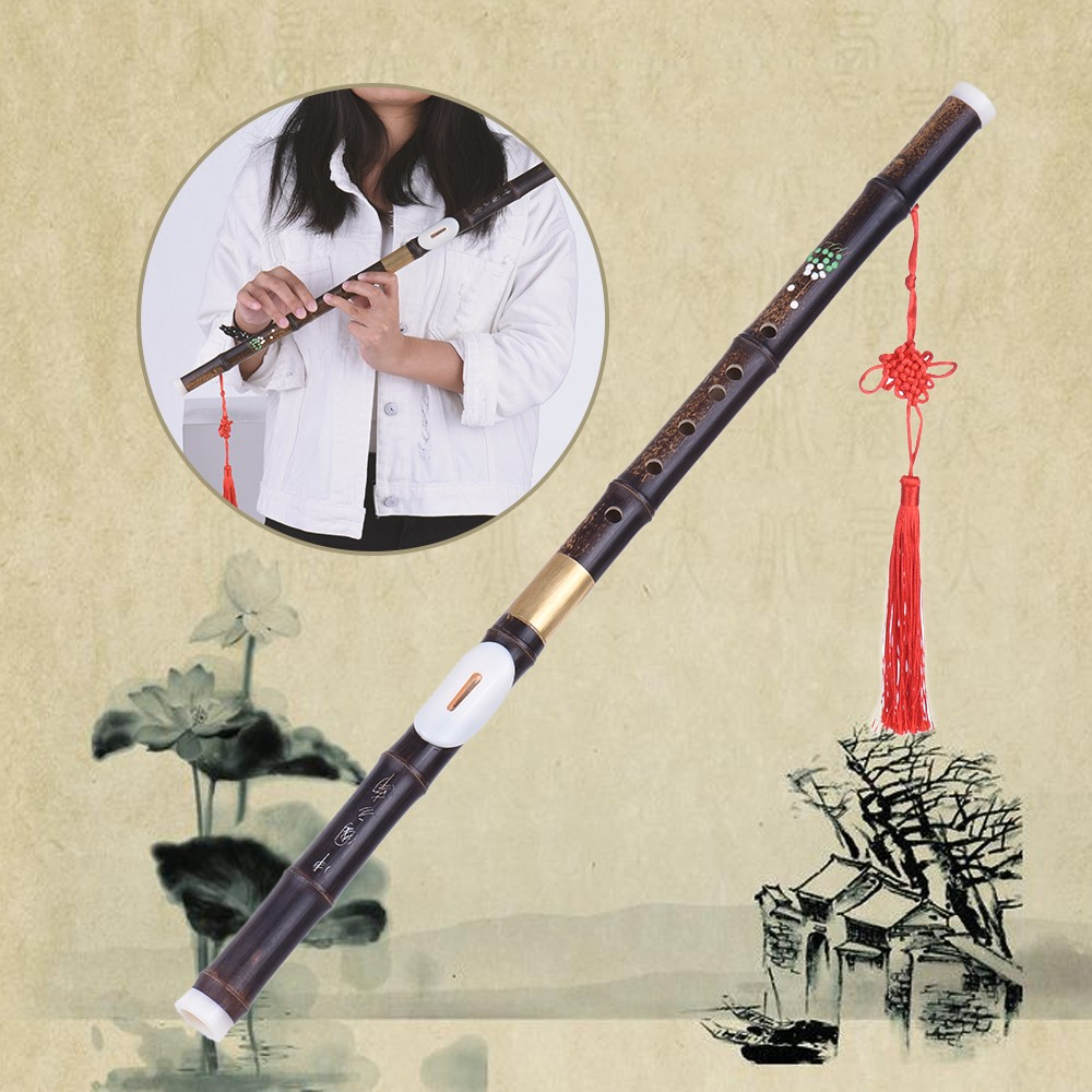 Detchable Natural Black Bamboo Bawu Ba Wu Transverse Flute Pipe Musical Instrument in G Key for Beginner Music Lovers as Gift
