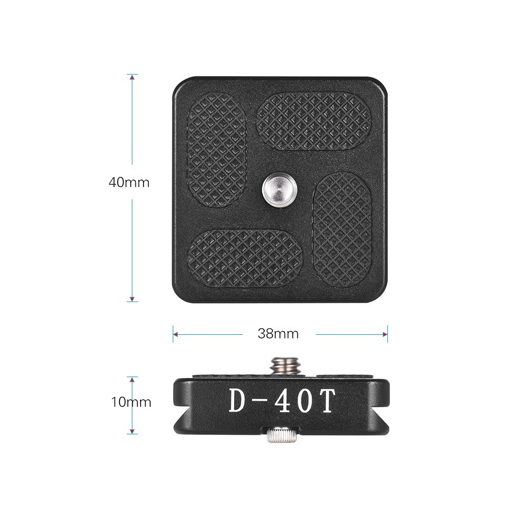 40*38mm Size Aluminum Alloy Universal Quick Release Plate D-40T QR Plate with 1/4 Inch Screw for Arca Swiss Benro Monopod Tripod Ball Head Camera Accessory