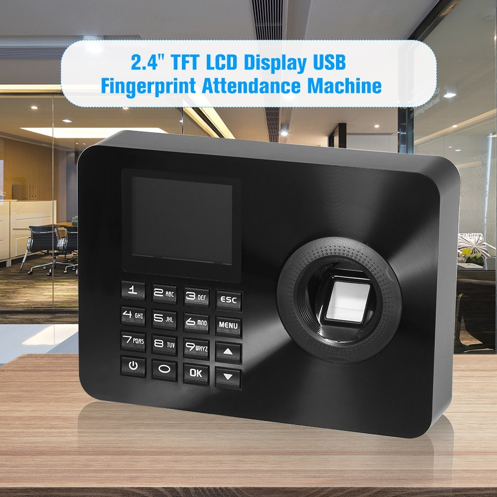 Biometric Fingerprint Time Attendance Clock Recorder Employee Recognition Device Electronic Checking-in Machine with Large Passwords&Fingerprints Capacity,Black