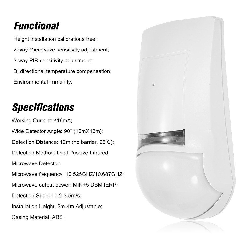 Dual Passive Infrared and Microwave Detector PIR Motion Sensor Wall Mounted Wired Alarm NC Output For Home Burglar Security Alarm System
