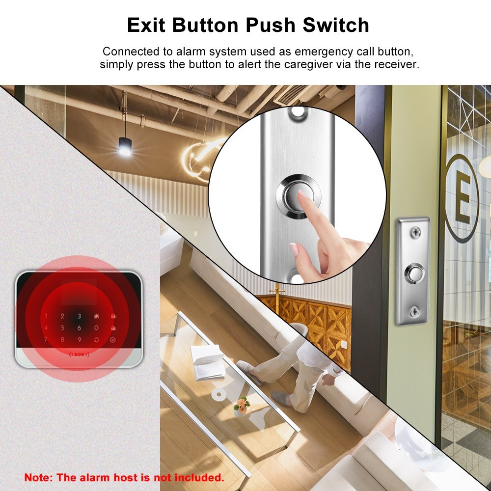 Stainless Steel Door Exit Button Electronic Door Lock NO COM Push Release Exit Wall Switch Lock Sensor for Magnetic Door Access Control System Emergency Alarm Trigger Switch Home Security Protection