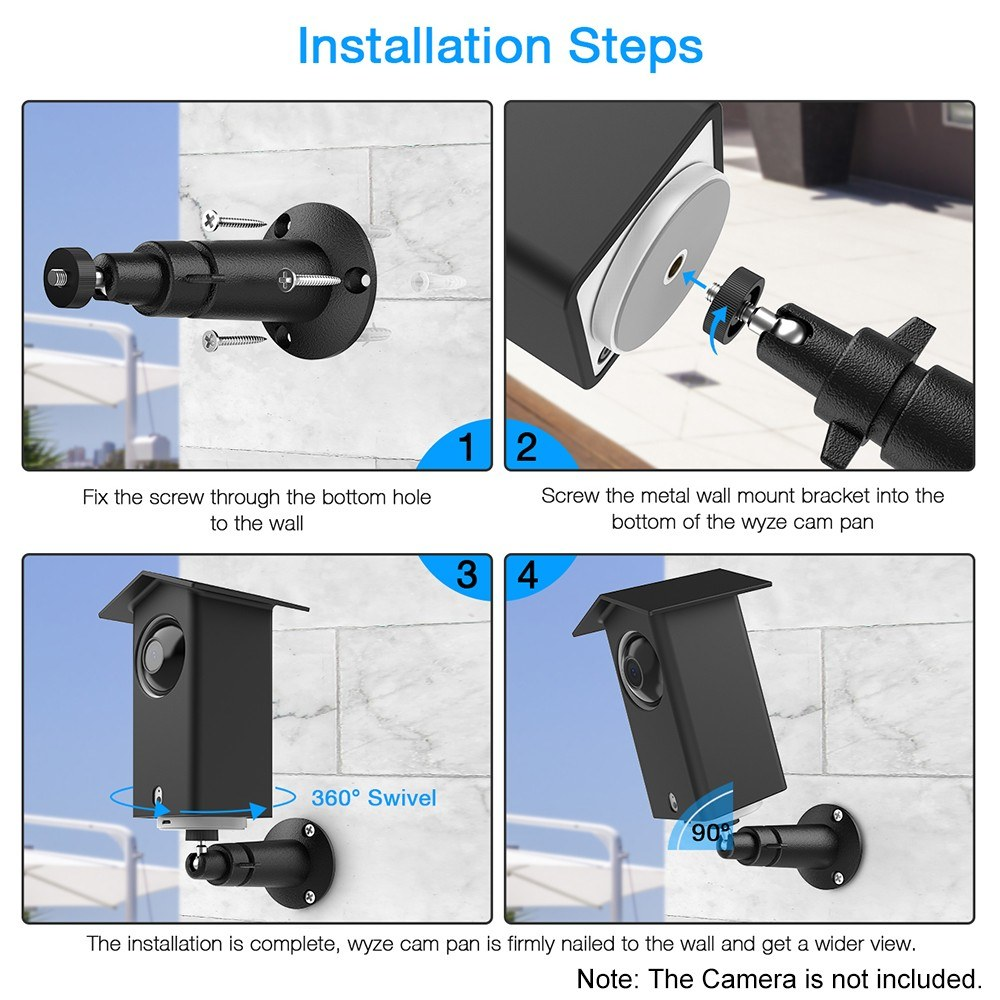 Real Water Resistant Protective Case + 360 Degree Protective Adjustable Metal Wall Mount Bracket for Wyze Cam Pan Suitable for Indoor and Outdoor Use, Black, 1 Pack