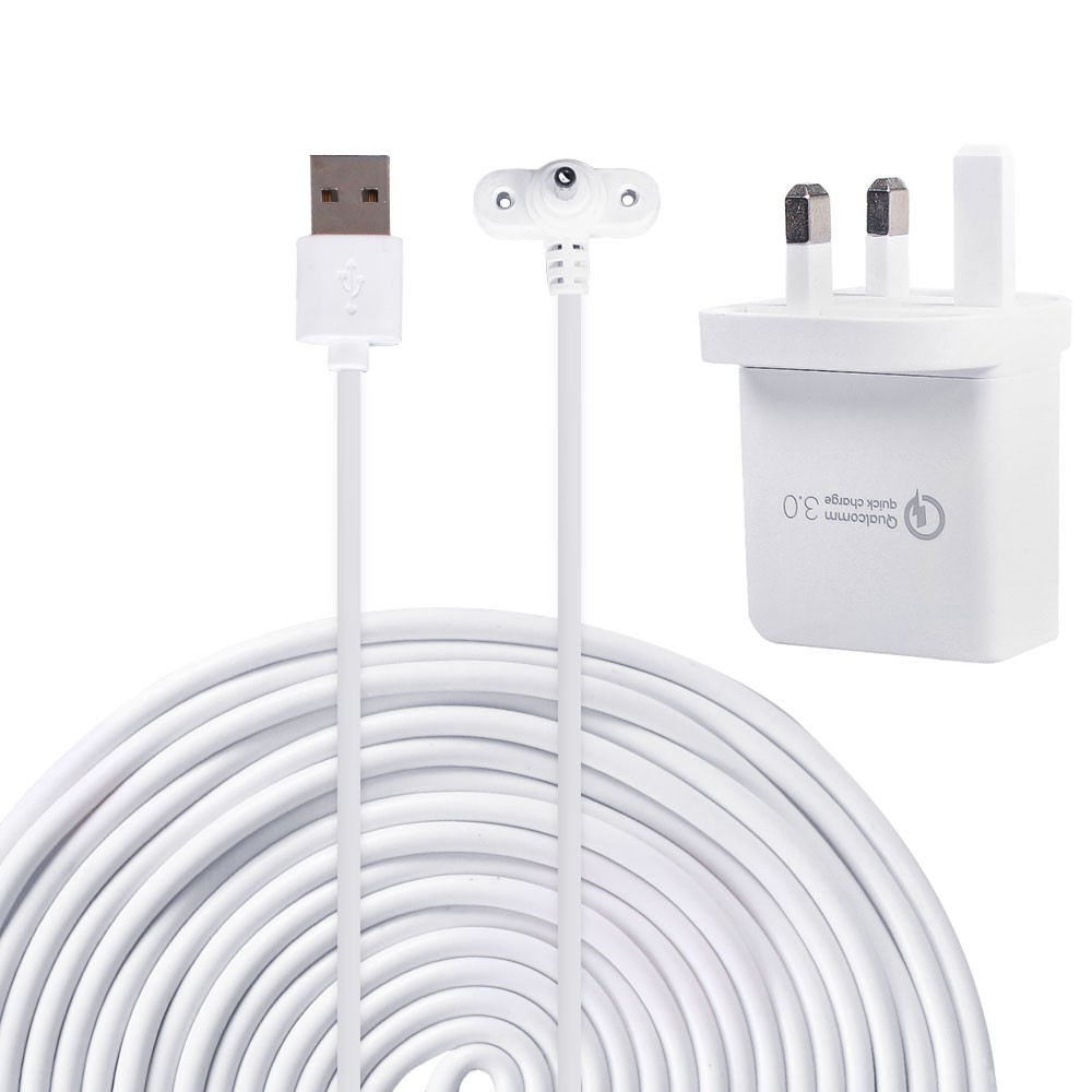 UK Power Adapter Compatible with for Ring Spotlight Cam Battery Weatherproof with 6m/20ft Long Cable to Continuously Charge Camera,White