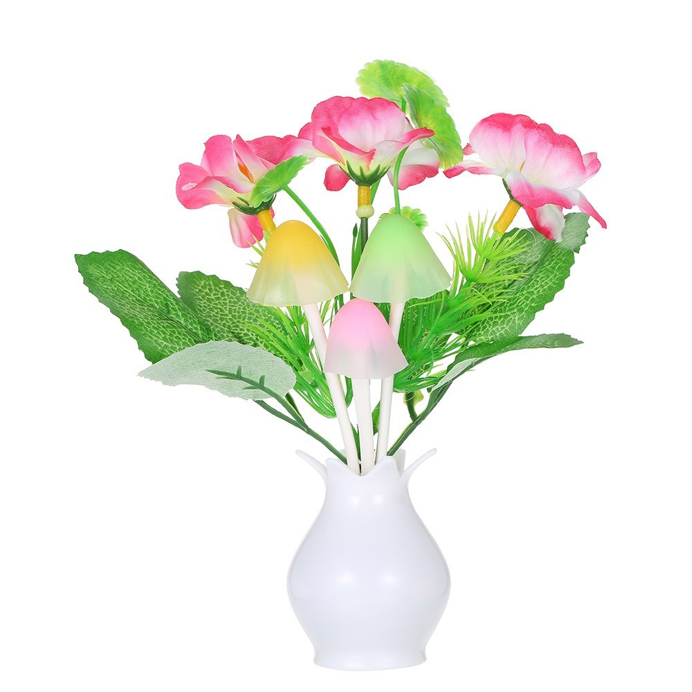AC110-220V LED Flower Vase Potted Wall Lamp Night Light Sensitive Light Control Automatic Color Changing