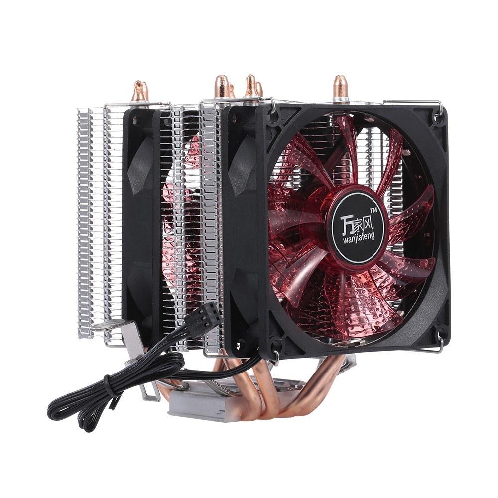CPU Cooler Fan Heatsink 4 Heatpipe 2 Fans Quiet Heatsink Radiator Support 775/115x/AMD