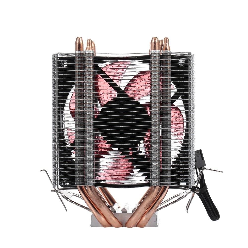 CPU Cooler Fan Heatsink 4 Heatpipe 2 Fans Quiet Heatsink Radiator Support 775/115x/AMD LED Blue Light