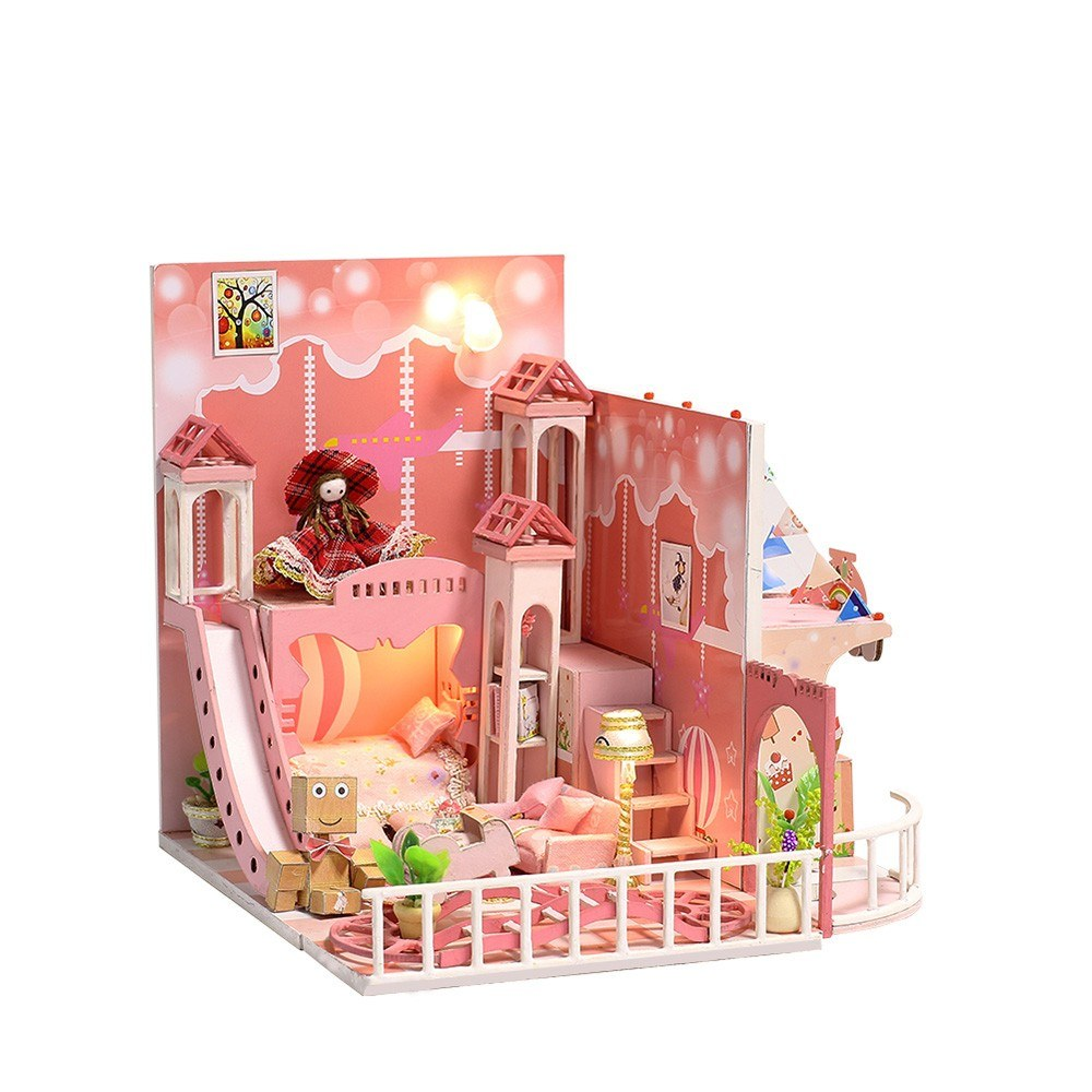 Doll House Dream House DIY Miniature House Building Kit Wooden Furniture Toys for Child Girl Boy