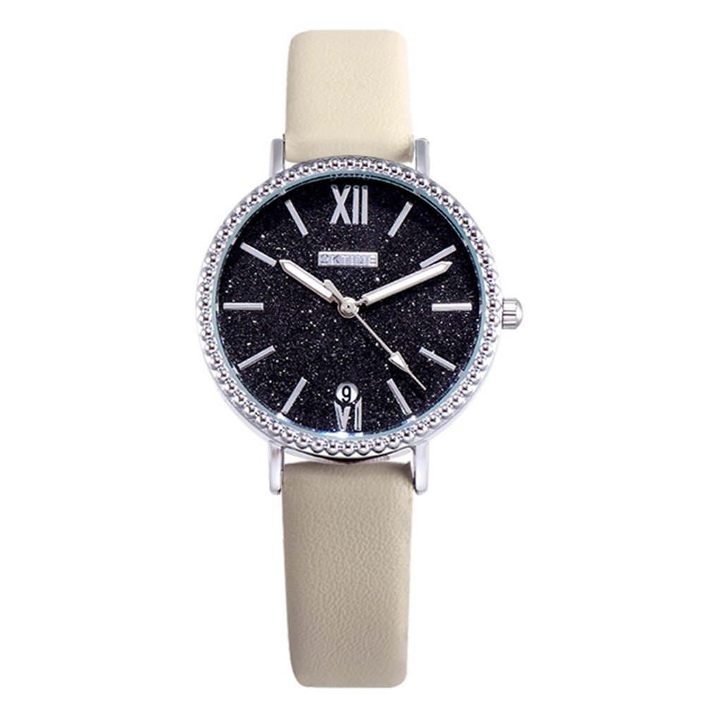 Fashion Women Brilliant Starry Night Black Dial Quartz Watch Student Calendar Alloy Case PU Leather Band Wrist Watch