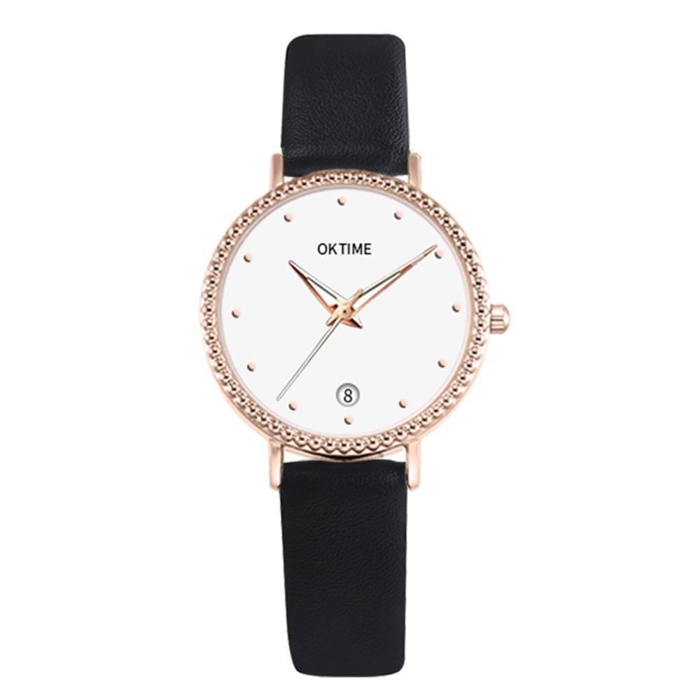 Fashion Simple Women Quartz Watch Student Calendar Alloy Case PU Leather Band Wrist Watch