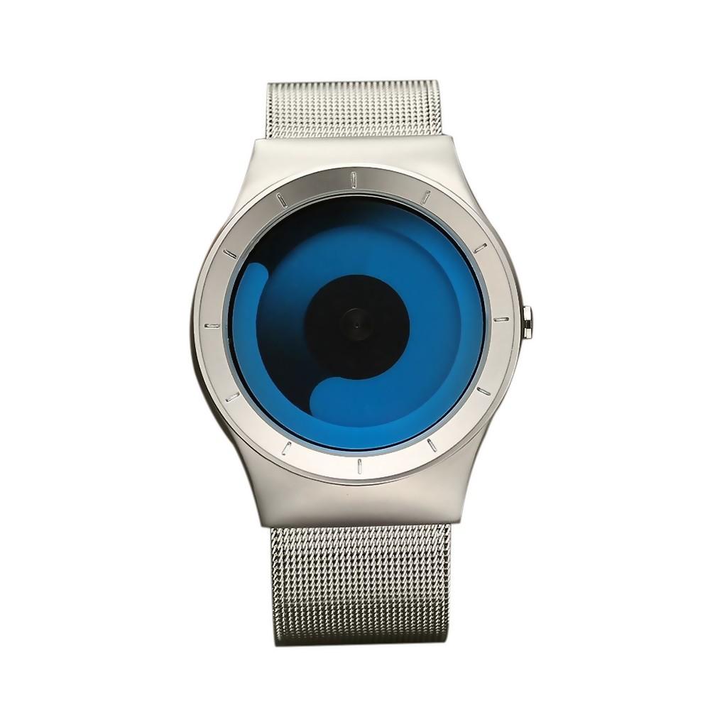 Personality Vortex Concept Watch Without Pointer Rhinestone Modern Wristwatch Trend Sport Black Wrist Couple Watches for Men Women (Blue)