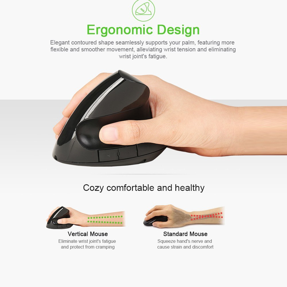Optical Vertical Mouse Ergonomic Wireless Mouse Rechargeable Mice Built-in Battery for PC Laptop(Black)