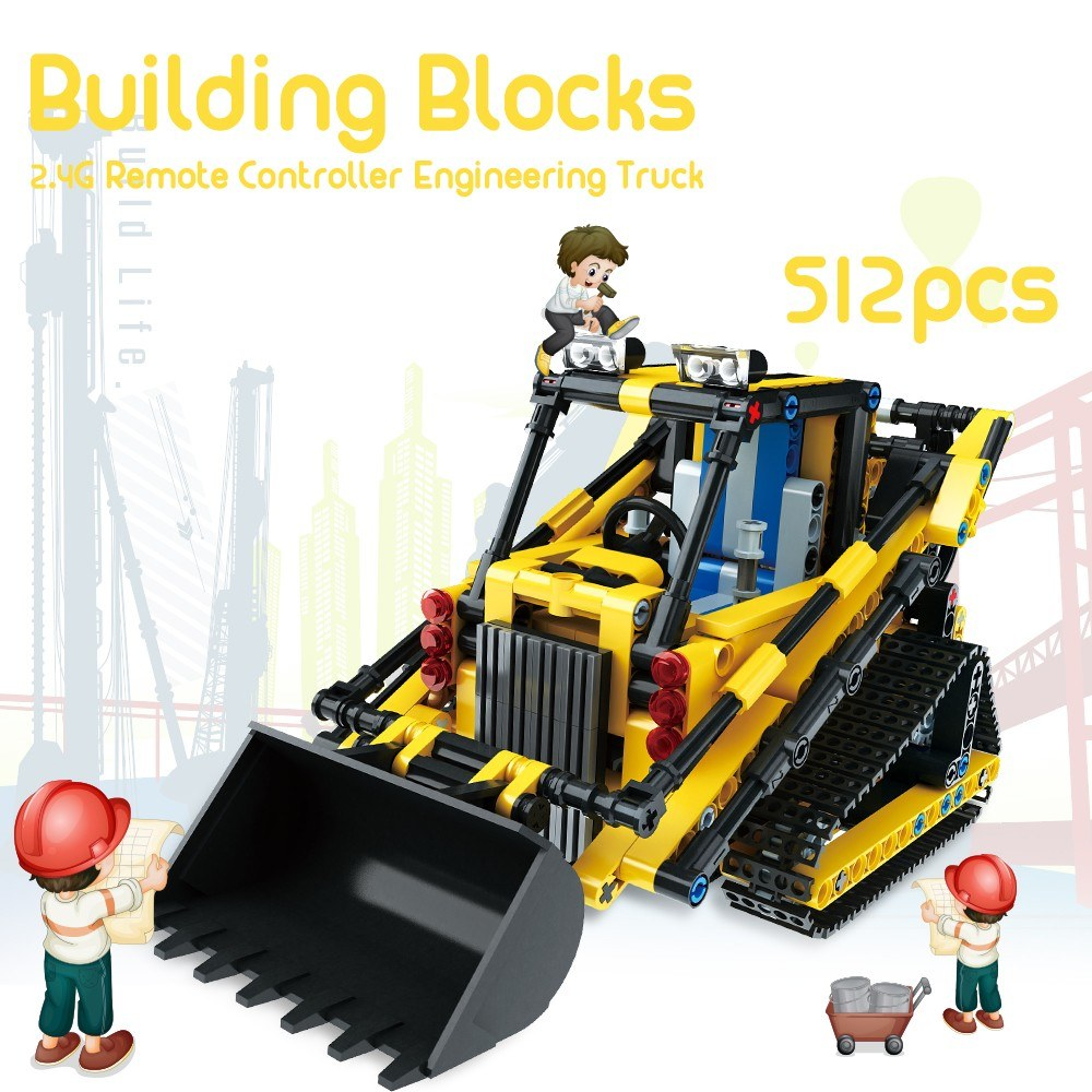 Engineering Truck Building Blocks Educational Toy Bricks 2.4G Remote Control Construction Tractor Toys for Kids Christmas Gift 512pcs