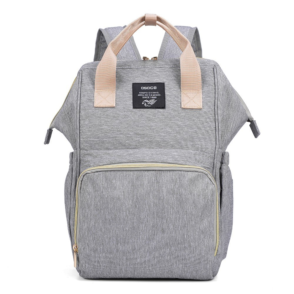 OSOCE Unisex Water-Repellent Polyester Large Mommy Daddy Backpack Baby Clothes Diaper Nappy Milk Powder Bottle Travelling Storage Bag--Grey